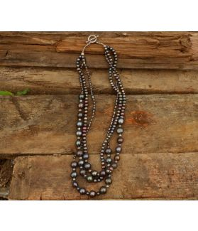 Adara Necklace, Black Pearl, Fine Karen Silver