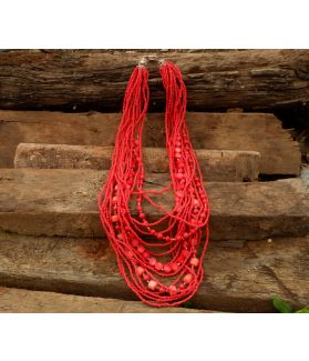 Scarlett Necklace, Red Coral, Fine Karen Silver