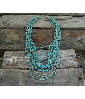 Azul Necklace, Authentic Turquoise, Fine Karen Silver