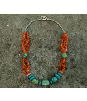 Zumi Necklace, Authentic Turquoise, Amber, Fine Karen Silver