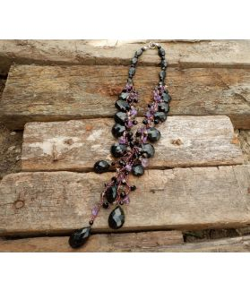 Tisha Necklace, Athentic Amethyst, Garnet, Onyx, Fine Karen Silver, Smokey Crystal Quartz, and Clear Crystal Quartz