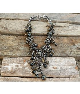 Sauda Necklace, Authentic Onyx, Smokey Quartz, Rose Quartz, Agate, Black Pearl, Fine Karen Silver