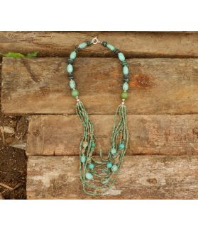 Forest Necklace, Authentic Turquoise, Fine Karen Silver