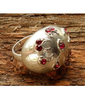 Solana Ring, Fine Sterling Silver, Ruby Swarovski Crystal