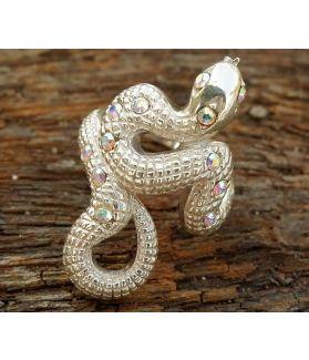 Ashanti Ring, Sterling Silver, Aurore Boreale Swarovski Crystal