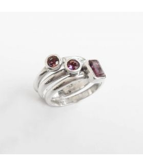 Playful Persephone Amethyst Triplets Sterling Silver Ring