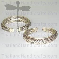 HILL TRIBE SILVER WOVEN BANGLE ngl