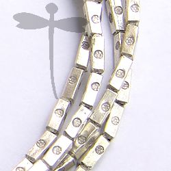 Fine Silver Printed Rectangular Beads Strand