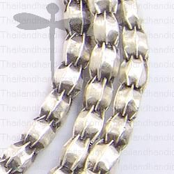 Fine Hill tribe Silver Plain Pleated Beads Strand