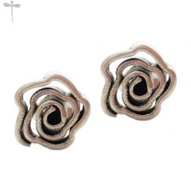 HILL TRIBE SILVER FLOWER SPIRAL STUD EARRINGS