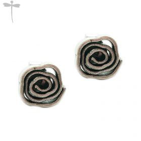Hill Tribe silver rose insred SPIRAL stud earrings