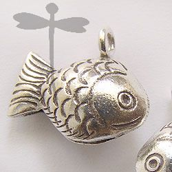 HILL TRIBE SILVER FISH BELL CHARM