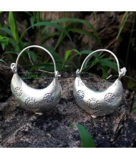 Handcrafted Flower Printed 3D Fan Drop Earrings