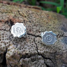 Handcrafted Tribal Print Flower Studs