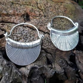 Hill Tribe Silver Drop Down Fan Earrings