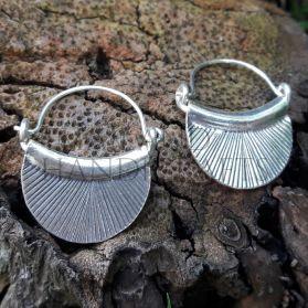 Hill Tribe Silver Drop Down Fan Earrings