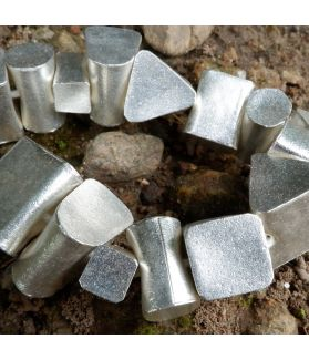 HILL TRIBE SILVER PLAIN GEOMETRIC BEAD