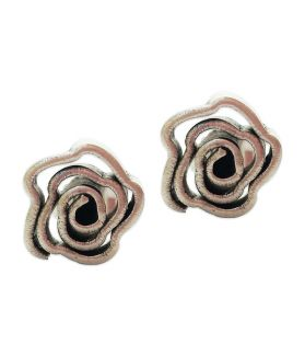 Hill Tribe silver flower shaped spiral stud earrings