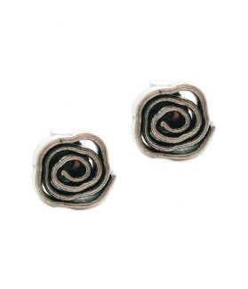 Hill Tribe silver rose inspired spiral stud earrings