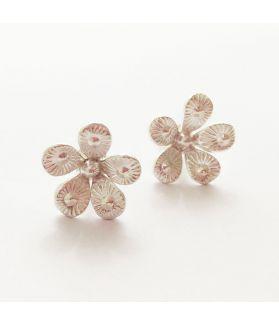 Hill Tribe silver flower shaped stud earrings